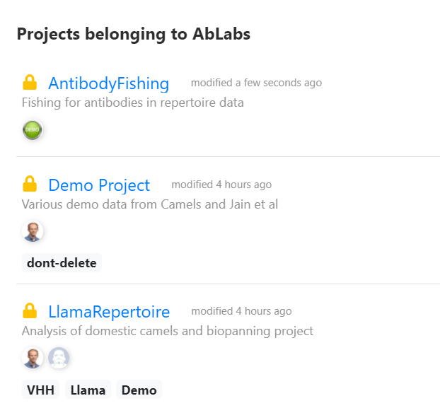 Organize your data in projects which can be shared with individual users